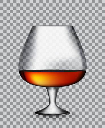 bourbon whisky: Glass Collector 50 year-old French Cognac on Transparent Background. Vector Illustration. EPS10 Illustration