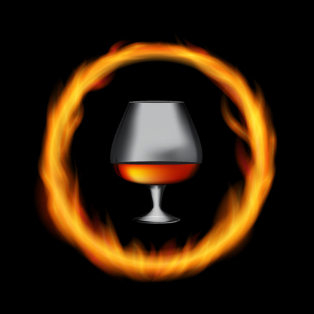 Glass Collector 50 year-old French Cognac on Background of Burning Fireplace Fire.