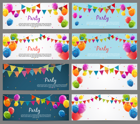 baner: Party Background Baner Set with Flags and Balloons Vector Illustration. EPS10 Illustration
