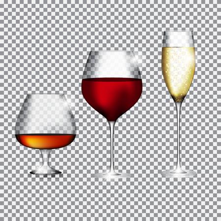 Ein Glas Champagner, Cognac und Wein auf transparentem Hintergrund Vektor-Illustration