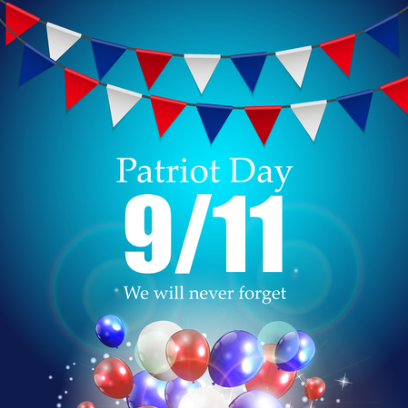 terrorist attack: Patriot Day the 119 Label, We Will Never Forget  Vector Illustration EPS10 Illustration