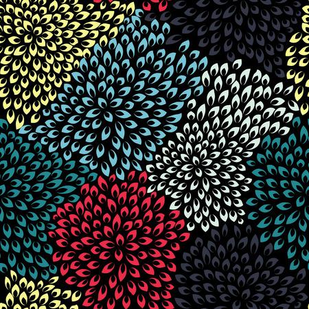 초록 꽃 원활한 패턴 배경 벡터 일러스트 EPS10
