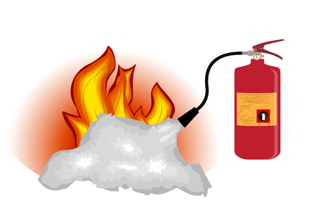 extinguishing: Fire Extinguisher which extinguishes fire Isolated on White Background. Vector Illustration. EPS10
