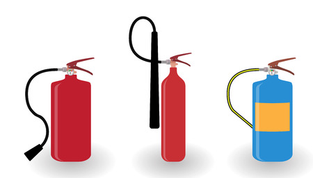 Red and Blue Fire Extinguisher Isolated on White Background. Vector Illustration. EPS10 Stock Photo