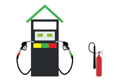 refueling: Filling Gun on Refueling the Car and fire extinguisher. Vector Illustration. EPS10