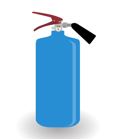 Blue Fire Extinguisher Isolated on White Background with Place for Inscription. Vector Illustration. EPS10 Stock Photo