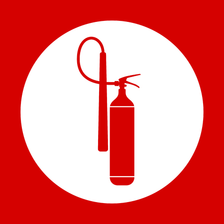 extinguishing: Flat Fire Extinguisher Icon with Place for Inscription. Vector Illustration. EPS10