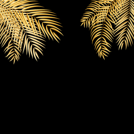 gold tree: Beautifil Golden Palm Tree Leaf  Silhouette Background Vector Illustration