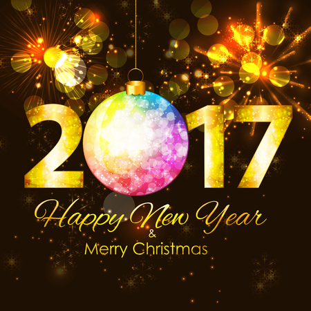 seasons of the year: Abstract Beauty 2017 New Year Celebration Poster Background. Vector Illustration EPS10 Illustration