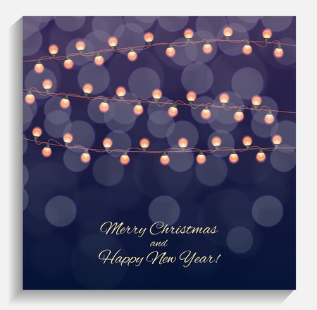 Abstract Beauty Merry Christmas and New Year Background with Multicolored Garland Lamp Bulbs Festive. Vector illustration EPS10 Illustration
