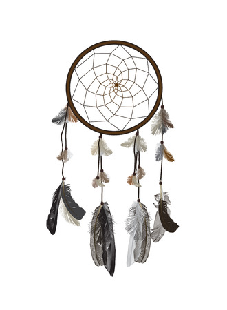 naturalistic: Naturalistic Dreamcatcher Isolated on White Background. EPS10