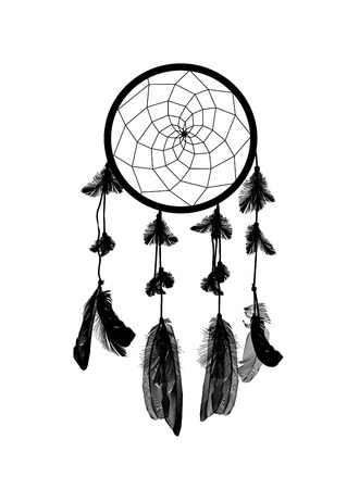 naturalistic: Naturalistic Black Dreamcatcher Isolated on White Background. EPS10 Illustration