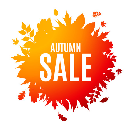 discount tag: Shiny Autumn Leaves Sale Background Vector Illustration EPS10