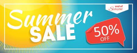 end of summer: Summer Sale end of Season Banner. Business Discount Card. Vector Illustration EPS10