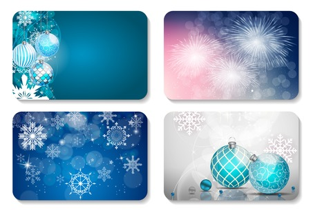 annotation: Beautiful Christmas and New Year Gift Card Template Set. Vector Illustration EPS10