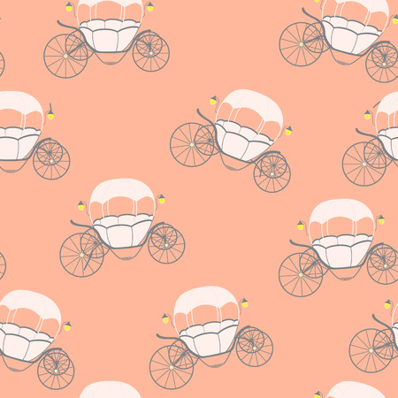 chariot: Princess Cinderella Fairytale Carriage. Seamless Pattern. Vector Illustration. EPS10