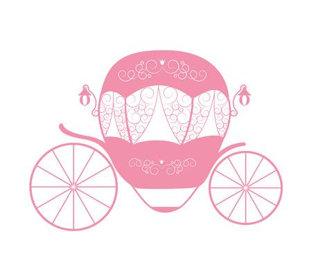 Pink Princess Cinderella Fairytale carriage. Vector Illustration. EPS10 Illustration