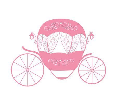 Pink Princess Cinderella Fairytale carriage. Vector Illustration. EPS10 Illustration