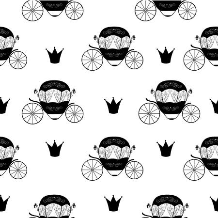 fairytale background: Princess Cinderella Fairytale Carriage. Seamless Pattern Background. Vector Illustration. EPS10