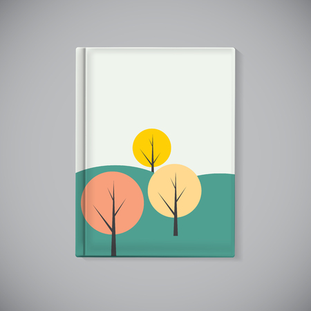 background cover: Book Cover Template with Simple Autumn Tree Background Vector Illustration EPS10
