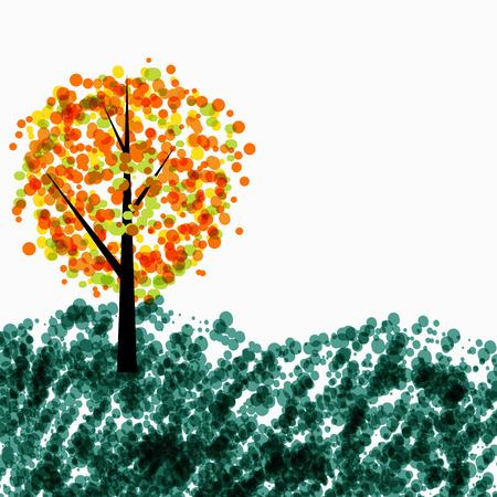 Autumn Tree Background on White. Vector Illustration EPS10