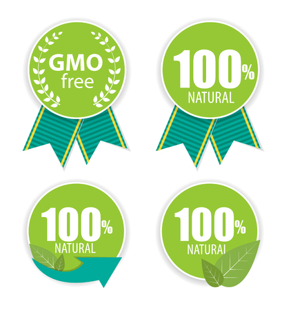 gmo: Gmo Free and 100% Natural Label Set Vector Illustration EPS10 Illustration