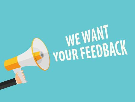 Wir möchten Ihr Feedback Hintergrund. Hand mit Megaphon und Sprechblase Vector Illustration EPS10 Standard-Bild - 63049780
