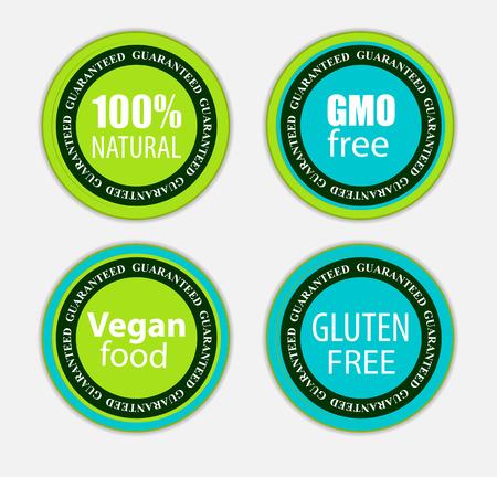 Gmo bezpłatny, 100% Natutal, weganina jedzenie i gluten Bezpłatna etykietka, Ustawiająca Wektorowa ilustracja EPS10
