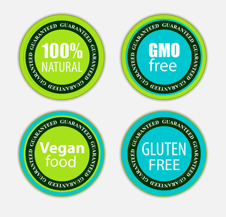Gmo Free, 100% Natutal, Vegan Food and Gluten Free Label Set Vector Illustration EPS10 Vectores