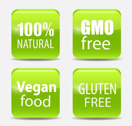 hundred: Gmo Free, 100% Natutal, Vegan Food and Gluten Free Label Set Vector Illustration EPS10 Illustration