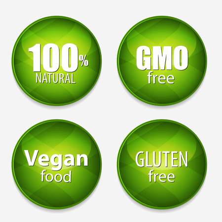 Gmo Free, 100% Natutal, Vegan Food and Gluten Free Label Set Vector Illustration EPS10 Иллюстрация