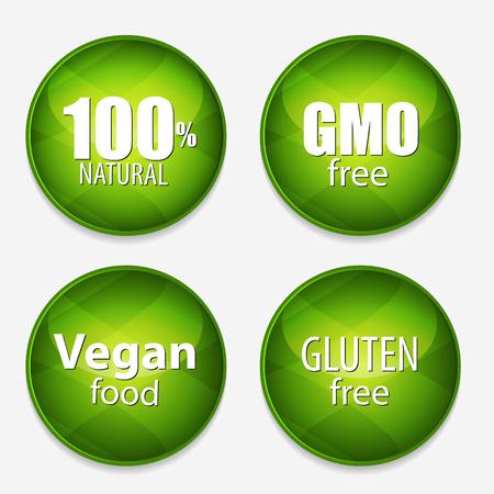 GMO-vrij, 100% Natutal, veganistisch eten en glutenvrij Label Set Vector Illustration EPS10