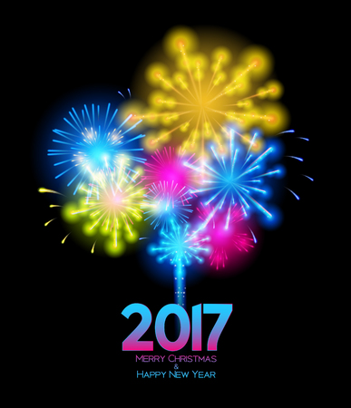 illuminated: Abstract Beauty Christmas and 2017 New Year Background. Vector Illustration. EPS10