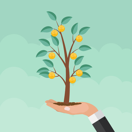 Money Tree, Financial Growth Flat Concept