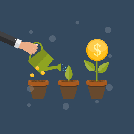 growth: Money Tree, Financial Growth Flat Concept