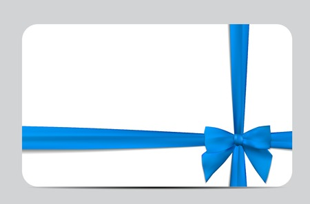 Gift Card with Blue Ribbon and Bow.
