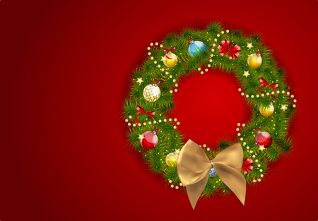 Abstract Beauty Christmas and New Year Background with Wreath.