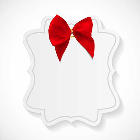 Gift Card with Red Ribbon and Bow. Vector illustration EPS10 Illustration