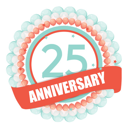 selebration: Cute Template 25 Years Anniversary with Balloons and Ribbon
