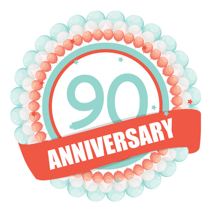 selebration: Cute Template 90 Years Anniversary with Balloons and Ribbon