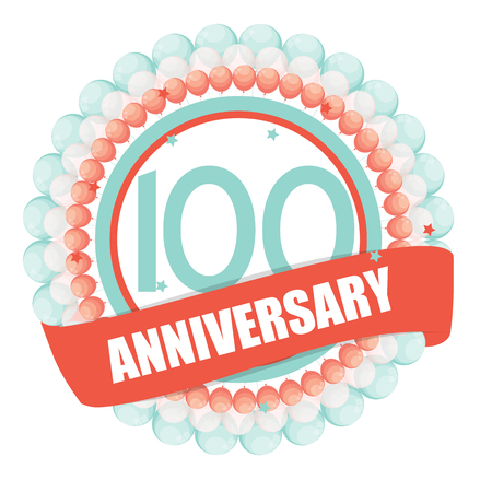 selebration: Cute Template 100 Years Anniversary with Balloons and Ribbon Vector Illustration EPS10