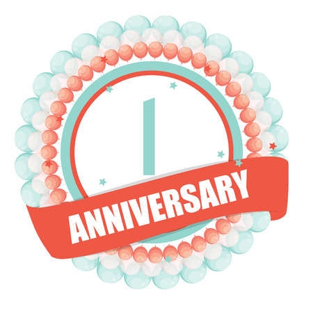 Cute Template 1 Years Anniversary with Balloons and Ribbon Vector Illustration EPS10
