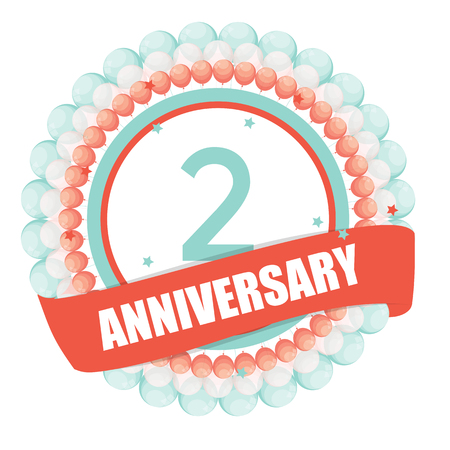 selebration: Cute Template 2 Years Anniversary with Balloons and Ribbon