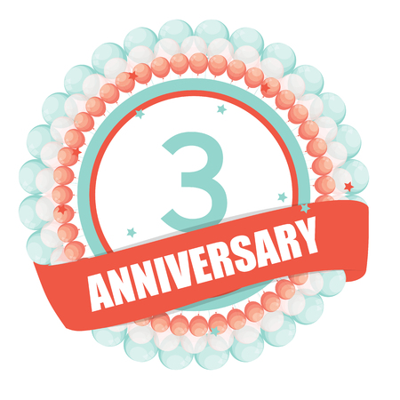 selebration: Cute Template 3 Years Anniversary with Balloons and Ribbon