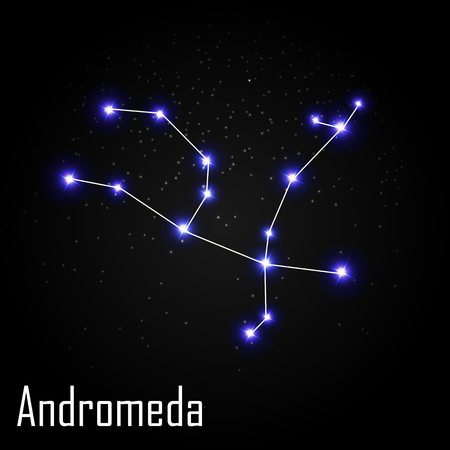 Andromeda Constellation with Beautiful Bright Stars on the Background of Cosmic Sky Illustration