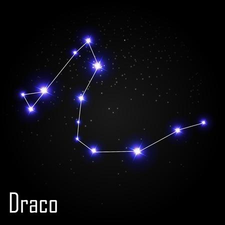 美しい明るいドラコ星座星宇宙空の背景に