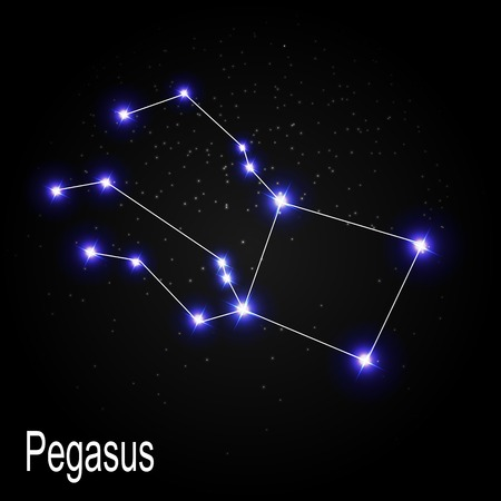 Pegasus Constellation with Beautiful Bright Stars on the Background of Cosmic Sky