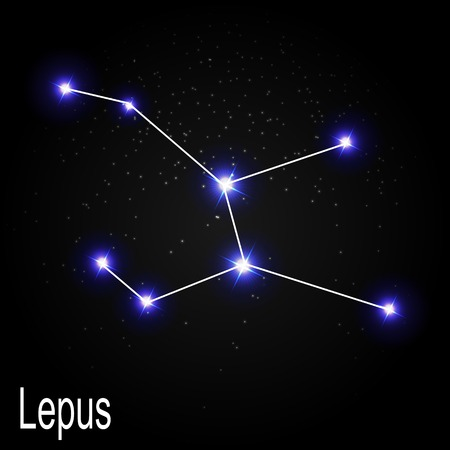 milkyway: Lepus Constellation with Beautiful Bright Stars on the Background of Cosmic Sky