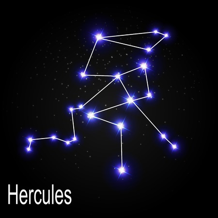 Hercules Constellation with Beautiful Bright Stars on the Background of Cosmic Sky