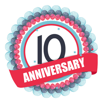 10 years: Cute Template 10 Years Anniversary with Balloons and Ribbon
